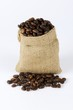 Coffee beans in a small sack
