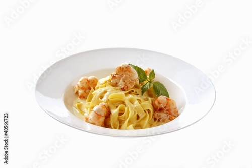 Fettuccine Alfredo with shrimps