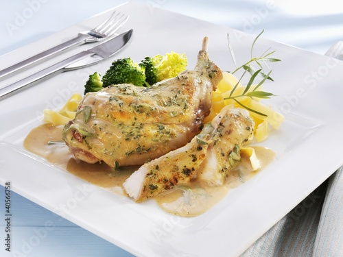 Rabbit with mustard sauce, ribbon pasta and broccoli