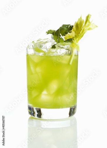 Vodka Lime Cocktail with Celery Garnish