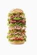 Giant ham, sliced sausage and lettuce sandwich