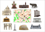 Rome. Map and hallmarks poster