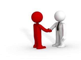 Deux humains 3d se serrent la main
