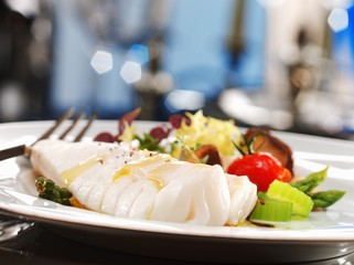 Monkfish with salad
