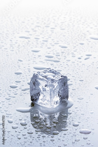 An ice cube on a wet surface