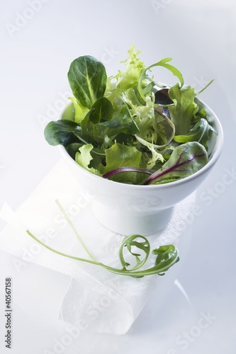 A bowl of mixed salad leaves