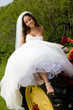 A bride on a tractor