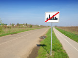 traffic sign out of the settlement poster