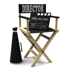 Chair director, movie clapper and megaphone