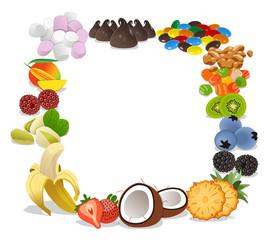 Marco de toppins y frutas