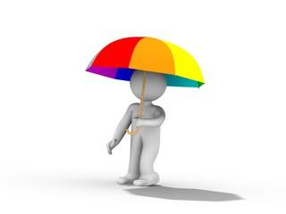 Humain avec un parapluie 3d