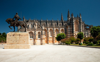 Nice view on the famous cathedral of Batalha, Portugal