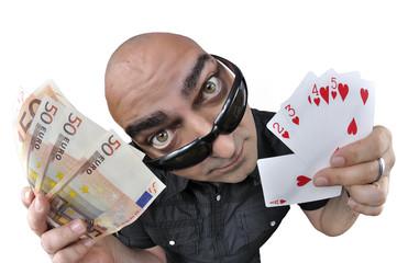 Afortunada mano de poker.