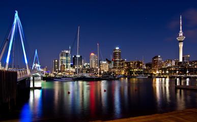Auckland, New Zealand, Skyline at Night with Bridge