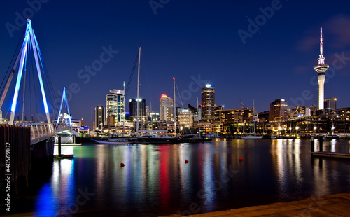 Auckland, New Zealand, Skyline at Night with Bridge