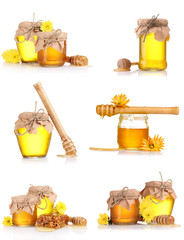 a collage of six compositions of jars of honey isolated on