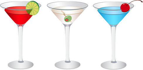 Cocktails: Cosmopolitan, Martini, Betty blue