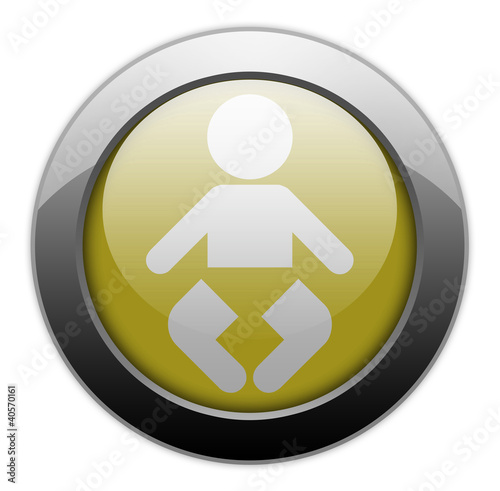 "Yellow Metallic Orb Button ""Nursery"""