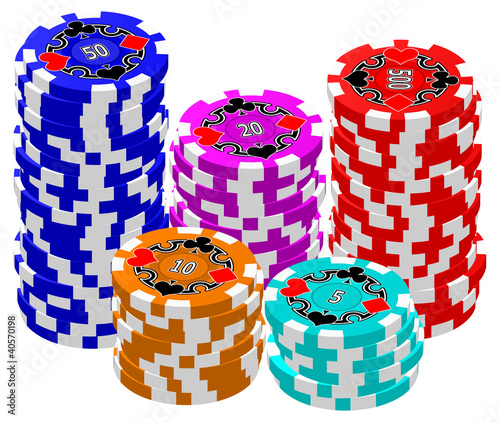 A set of stacked Poker Chips.