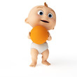 3d rendered toon illustration of a cute baby