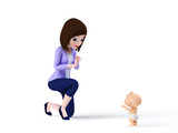 3d rendered toon illustration of a mom and her baby