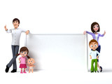 3d rendered toon illustration of a happy family