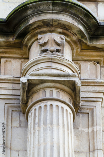 Detail of an ancient Greek pillar of ionic order ,facade of the © Fernando Cortés