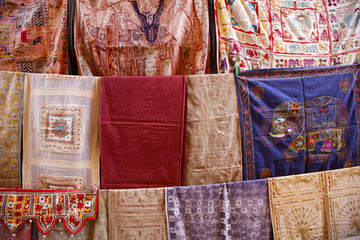 Bed covers for sale in an Indian market