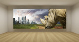 Fototapety Empty room with conceptual picture, art gallery concept, 3d illu