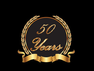 Gold 50th anniversary birthday vector