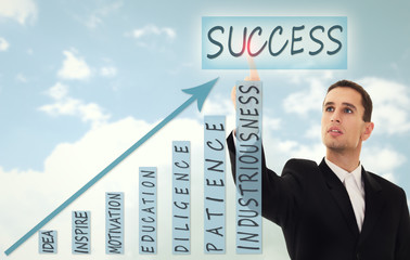 businessman and concept of business success, growth and developm