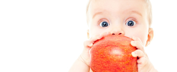 baby with apple