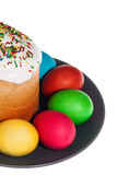 Easter cake and eggs isolated on a white background