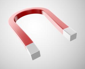 Horseshoe magnet on a white background