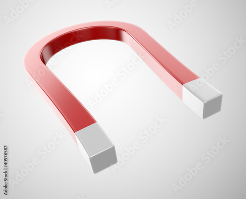 Horseshoe magnet on a white background