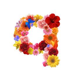花で作った書体、小文字