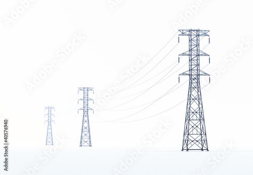 Leinwanddruck Bild high voltage power lines