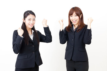 asian businesswomen cheering