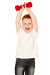 Red-haired adorable boy making exercise with dump-bells isolated