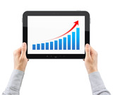 Hands Holding Tablet PC With Success Chart Isolated