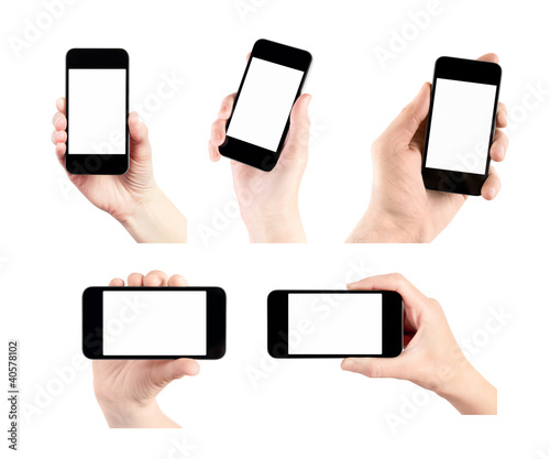 Set Of Mobile Smart Phone With Blank Screen In Hand Isolated