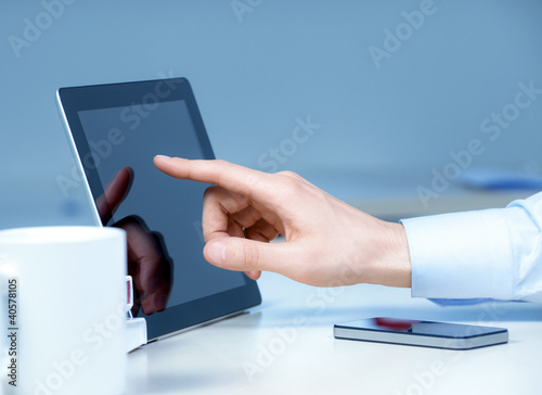 Businessman Touching On Modern Digital Tablet PC