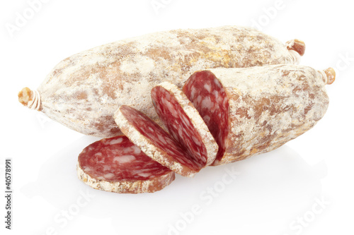 Sliced salami on white, clipping path included
