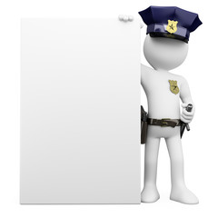 3D Police with a blank poster