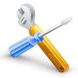 Fototapety Tools: screwdriver, spanner.