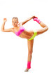 Beautiful young blonde demonstrates the flexibility of the body