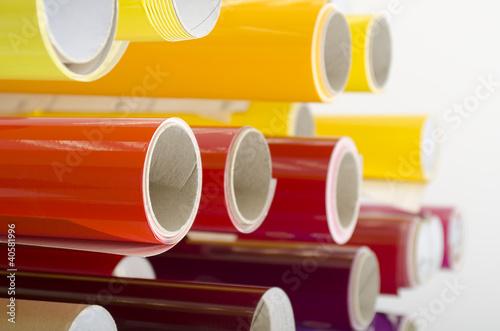 Leinwanddruck Bild Werbetechnik Folienrollen auf Ständer