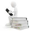 3d man sitting on a pile of books working with a tablet
