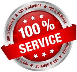 "Button Banner ""100 % Service"" rot/silber"