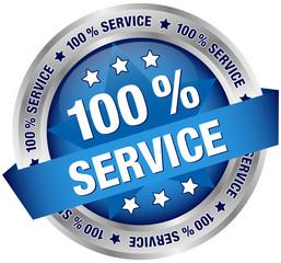 """Button Banner """"100 % Service"""" blau/silber"""